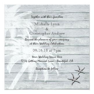 Invitation en bois de mariage de plage de palmiers