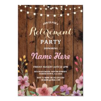 Invitation en bois de retraite d'aquarelle florale