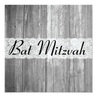 Invitation en bois gris de bat mitzvah de pays