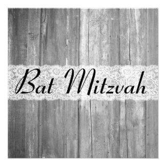 Invitation en bois gris de bat mitzvah de pays chi