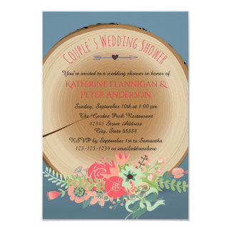 Invitation en bois rustique de wedding shower du