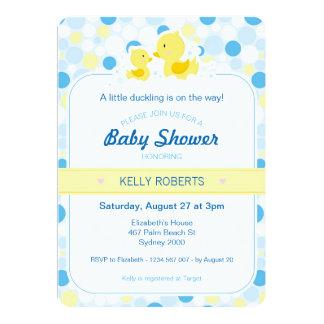 Invitation en caoutchouc de baby shower de canard