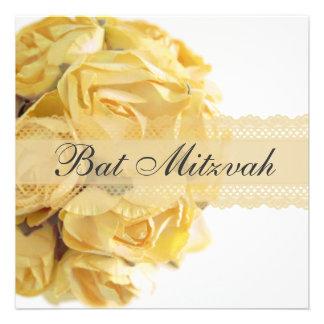 Invitation exquise de bat mitzvah de roses jaunes