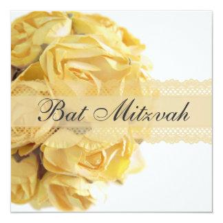 Invitation exquise de bat mitzvah de roses jaunes carton d'invitation  13,33 cm