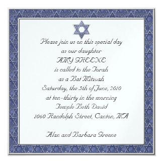 Invitation faite sur commande de bat mitzvah carton d'invitation  13,33 cm