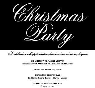 Invitations faire part fte nol formelle personnaliss zazzle invitation fte de nol noire et blanche lgante de bureau stopboris Gallery