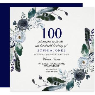 Invitation floral blanc d'anniversaire de noir de