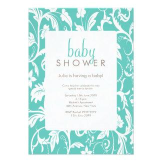 Invitation floral de baby shower de motif d'Aqua