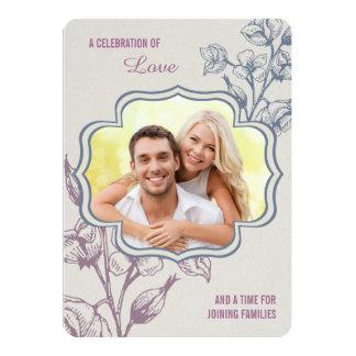 Invitation floral de mariage avec la photo et les