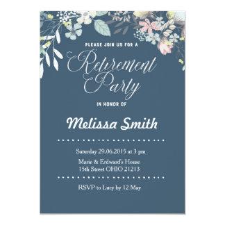 Invitation floral de partie de retraite de bleu