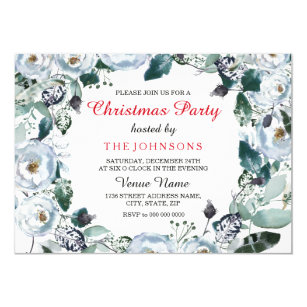 Invitations faire part fte nol bureau personnaliss zazzle invitation floral lgant de partie de nol de stopboris Gallery