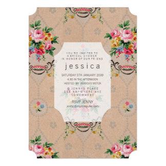Invitation floral français de motif de papier pein