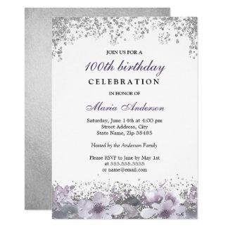 Invitation floral pourpre d'anniversaire de