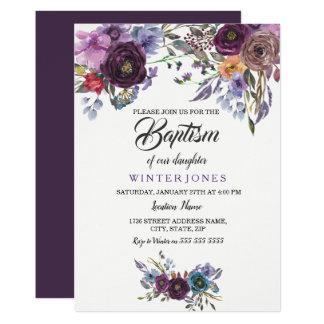 Invitation floral pourpre mignon de baptême de