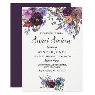 Invitation floral pourpre mignon de sweet sixteen