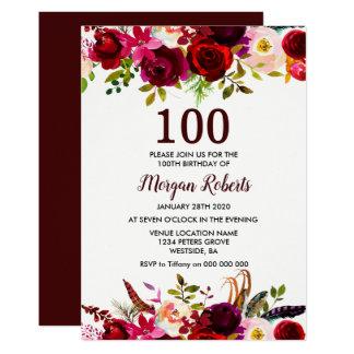Invitation floral rouge de fête d'anniversaire de