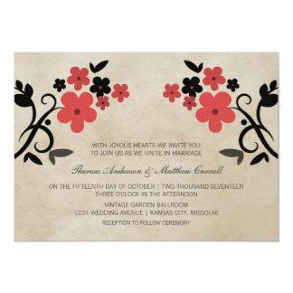 Invitation floral vintage doux rouge de mariage