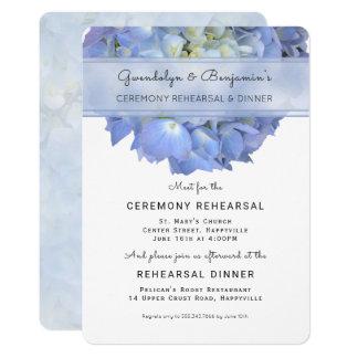 Invitation florale bleue de dîner de répétition de