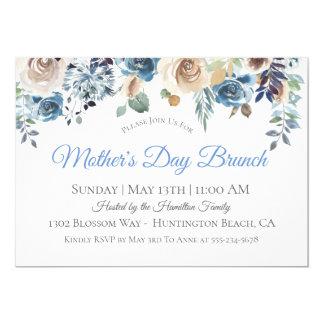 Invitation florale bleue poussiéreuse de brunch du