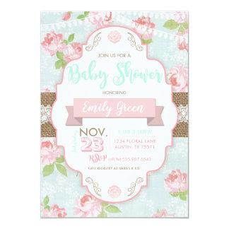 Invitation florale chic minable de baby shower de