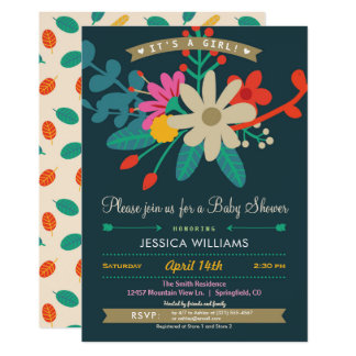 Invitation florale colorée de baby shower