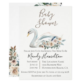 Invitation florale de baby shower de cygne élégant
