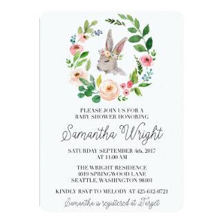Invitation florale de baby shower de lapin