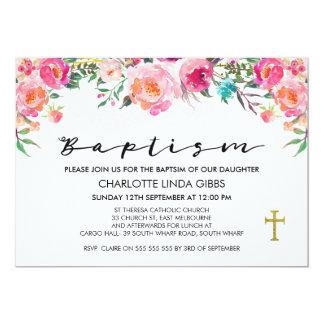 Invitation florale de baptême d'aquarelle