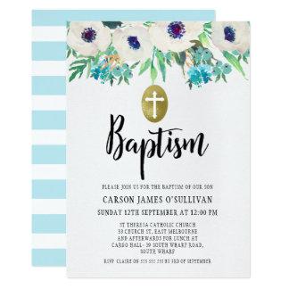 Invitation florale de baptême d'aquarelle de