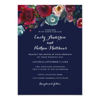 Invitation florale de mariage de automne de marine