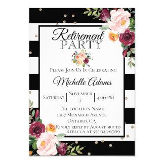 Invitation florale de partie de retraite de rayure