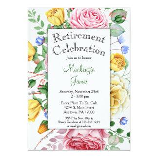 Invitation florale de retraite de jaune de rose de