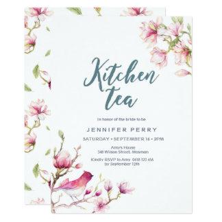 Invitation florale de thé de cuisine de magnolia