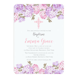 Invitation florale élégante de baptême du baptême