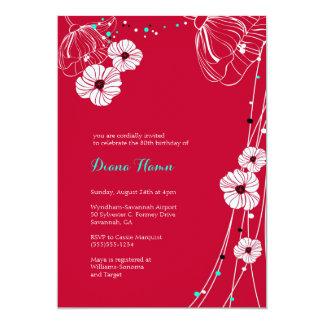Invitation florale moderne de ROUGE et de