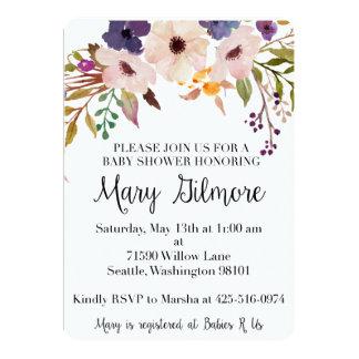 Invitation florale pourpre de baby shower