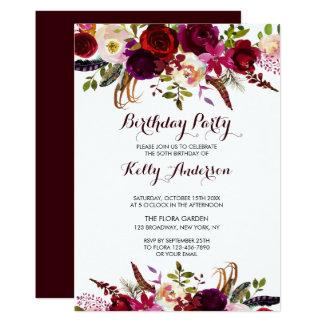 Invitation florale rustique de fête d'anniversaire