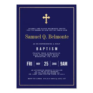 Invitation foncée de marine de baptême