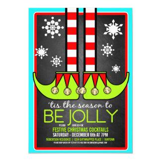 Invitation gaie de cocktail de Noël d'Elf