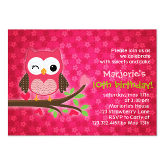 Invitation Girly de fête d'anniversaire de hibou