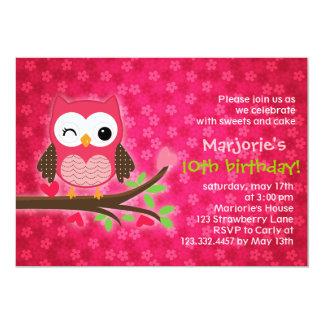 Invitation Girly de fête d'anniversaire de hibou Carton D'invitation 12,7 Cm X 17,78 Cm