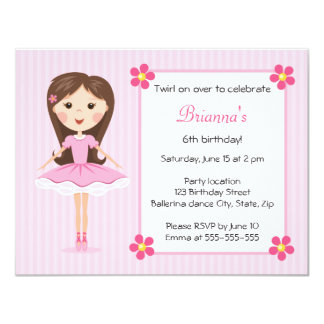 Invitation girly mignonne d'anniversaire de carton d'invitation 10,79 cm x 13,97 cm