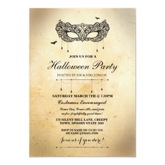 Invitation gothique de partie de mascarade de