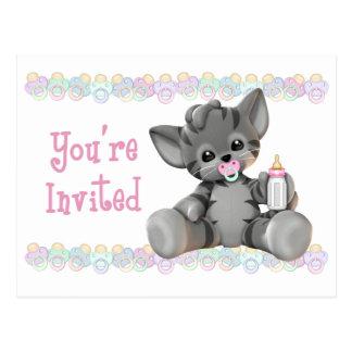 Invitation grise de baby shower de rose de chaton