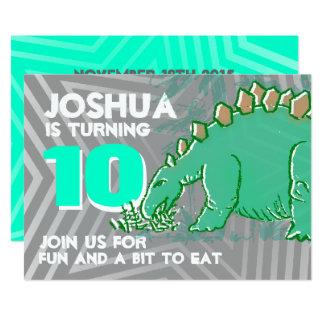 Invitation grise verte de 10ème anniversaire de