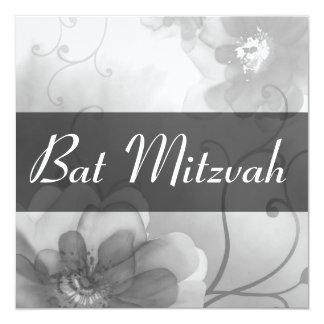 Invitation grise vintage de bat mitzvah de remous carton d'invitation  13,33 cm