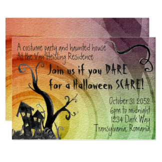Invitation hantée de Halloween d'aquarelle