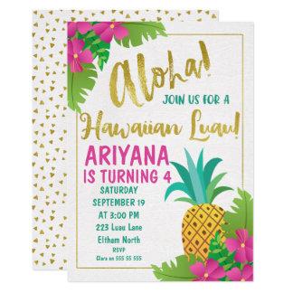 Invitation hawaïenne d'anniversaire de Luau