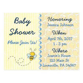 Invitation jaune de baby shower de bourdon