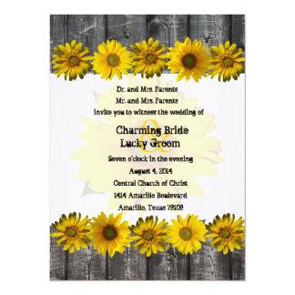 Invitation jaune en bois gris de mariage de photo